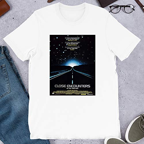 Close Encounters of The Third Kind PhotoMovie Sci Fi Spielberg Film Gift for Men Women Girls Unisex T-Shirt (White-M) (Close Encounters Of The Third Kind Re 2017)