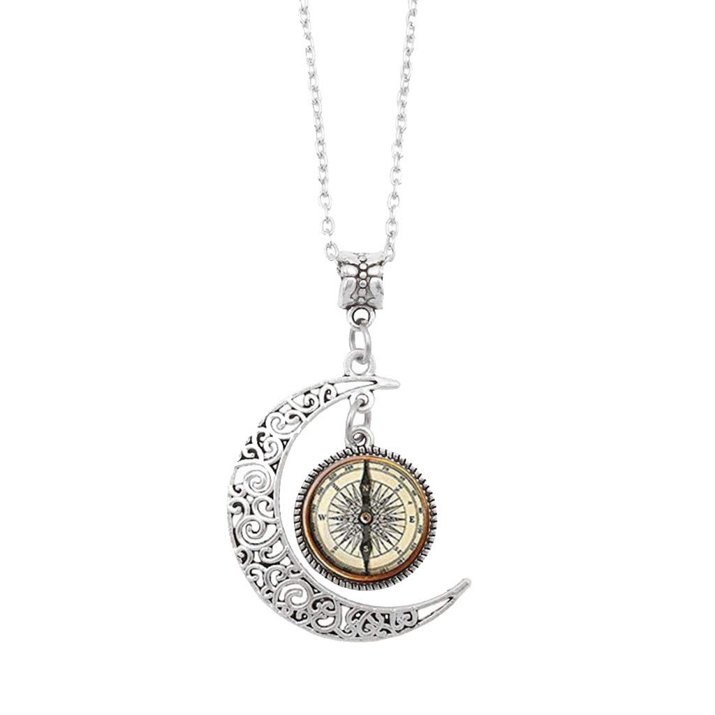 Tuscom Steampunk Compass Pendant Vintage Compass Moon Glass Necklace Art Decor Jewelry Gifts for Women Girls, 17.7'' Chain (Silver)
