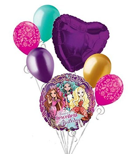 7 pc Ever After High Happy Birthday Balloon Bouquet Party Decoration Apple White]()