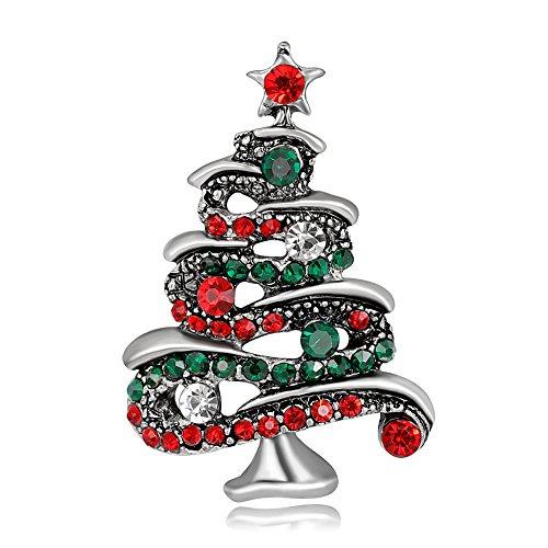 Bluelans Multicolor Rhinestone Christmas Tree Brooch Pin Women's Breastpin Jewelry Gift (Silver)
