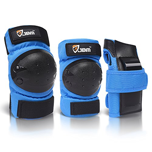 dult / Child Knee Pads Elbow Pads Wrist Guards 3 In 1 Protective Gear Set, Blue, Youth / Child ()