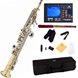 Mendini by Cecilio MSS-LN+92D Gold Lacquer and Nickel Plated Keys Straight B Flat Soprano Saxophone with Tuner, Case, Mouthpiece, 10 Reeds and More