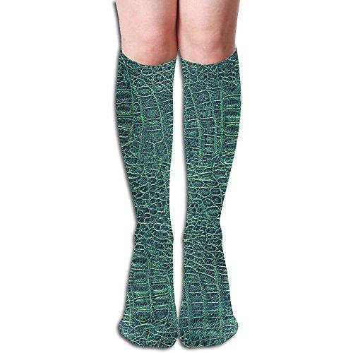 Alligator Skin Seamless Green Texture Womens Fashion Crew Knee High - Alligator Texture Skin