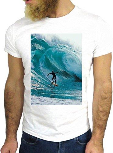T-SHIRT JODE GGG24 Z1039 OCEAN MAN BOY GUY SURF LANDSCAPE UK AMERICA BLUE WAVES BIANCA - WHITE S