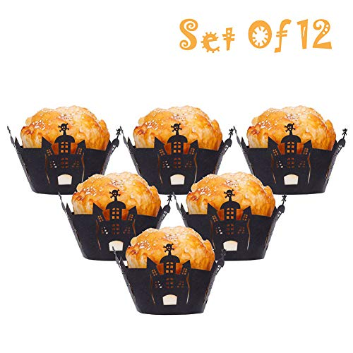 Baring Cupcake Wrappers Haunted House 12pcs/Set Halloween Hollow Paper Cup Spider Web Pumpkin Horror Castle Cake Wrap(Black 3)