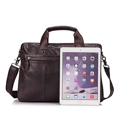 UBaymax Aktentasche Ledertasche Laptoptasche Notebook Tasche Handtaschen Umhängetasche Schultertasche Reisetasche Leder Herren 17 Zoll 3 Fächer ,Groß:42,5cm x 14cm x 31.5cm,(17 inch Schwarz) 13 Zoll Dunkelbraun