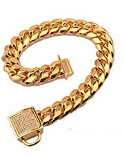 Pet Metal P Chain Pet Dog Chains Durable Thickness Gold Stainless Training Walking Chain Collars Metal