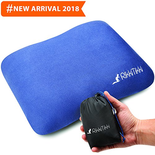 RikkiTikki Inflatable Travel Pillow - Camping Outdoor Backpa