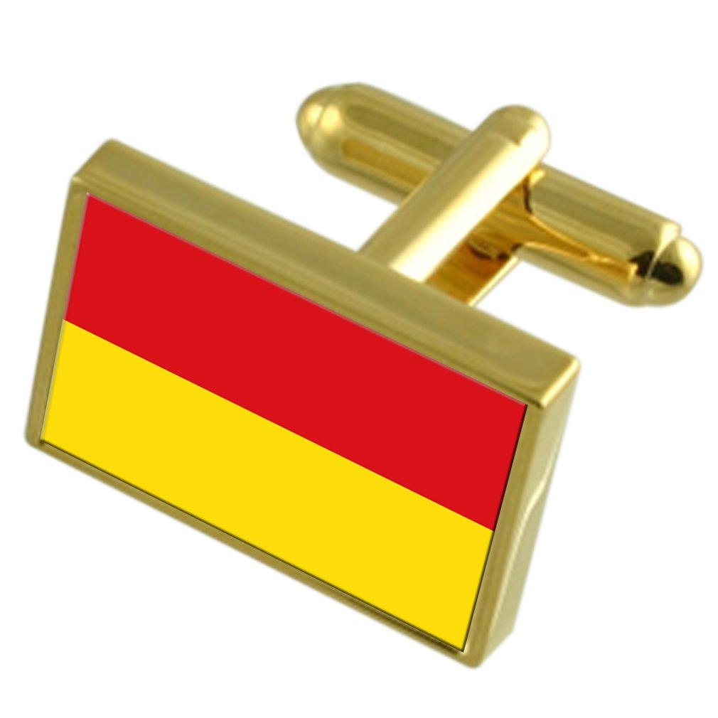 Zonnebeke City Belgium Gold-tone Flag Cufflinks Engraved Box