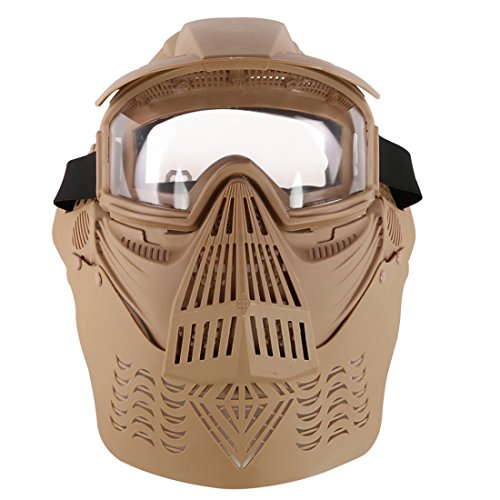 Tactical Protective Mask  Pinchuanghui Abs Upgraded Transformers Shaped Tactical Mask Cs Soft Bullet Dart Outdoor Field Operation Protective Mask For Nerf Eyeglass Version    Mud Color