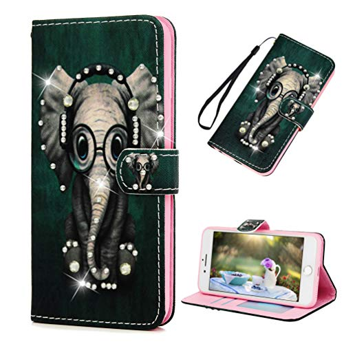 iPhone 7 Plus Case, iPhone 8 Plus Wallet Case, MOTIKO Painted Elephant Diamond Bling PU Leather Magnetic Flip Folio Soft TPU Bumper Credit Card Holders Slim Fit Protective Cover for iPhone 7/8 Plus