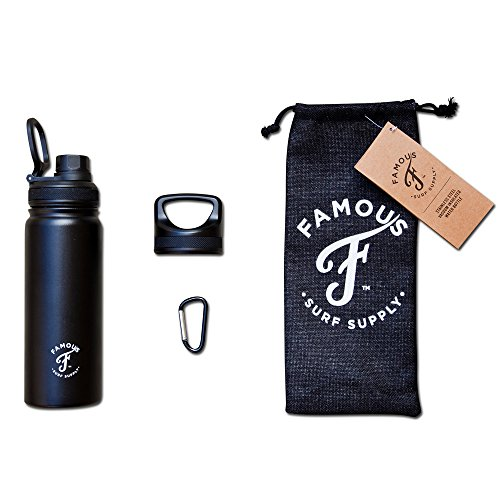 Famous-Surf-Supply-Grom-Flask-18oz-Dual-Walled-Insulated-Stainless-Steel-Water-Bottle-2-LIDS-Bottle-Cover-Carabiner
