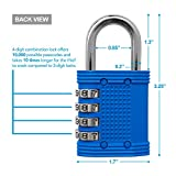 Padlock - 4 Digit Combination Lock for Gym, Sports, School & Employee Locker, Outdoor, Fence, Hasp and Storage - All Weather Metal & Steel - Easy to Set Your Own Keyless Resettable Combo - Blue