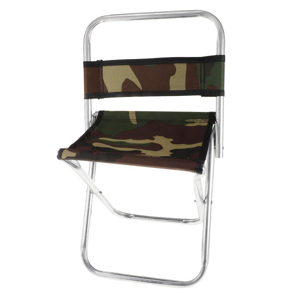 Prettyia Camoflage Beach Fishing Stool with Back Support Camping Chair Sitting Multipurpose Furniture