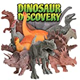 Kangaroo Realistic 7' Dinosaurs (Set of 12) Jumbo PVC Assorted Dinosaur Toys with Play Mat & Educational Full Color Dinosaur Book