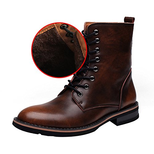 fur Mens Boots Lining Boots Ankle Warm Chunky Toe Chukka Stylish rismart Lace Pointed Up Winter Low Heel Brown v7dqgTxZ