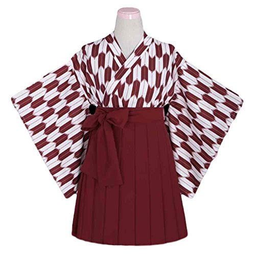 Vegang Kimono Hakama Costume YABANE Pattern Japan Student Manga (L, Red)