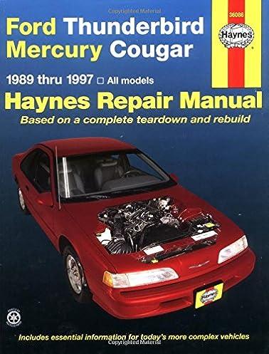 ford thunderbird mercury cougar 89 97 haynes repair manuals rh amazon com 1999 Cougar Owners Manual PDF 1998 Mercury Grand Marquis Repair Manual