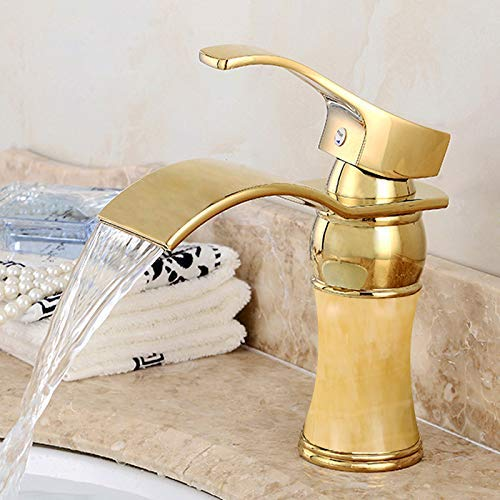 MONFS-Bathroom tap Taps redating Faucet European Faucet Hot And Cold gold Marble redating Faucet Copper Wash Basin Basin Faucet, Topaz [Waterfall]