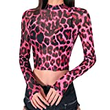 Fashion Tops for Women Sexy Turtleneck Printing Casual Long Sleeve Short T-Shirt (M, Pink)