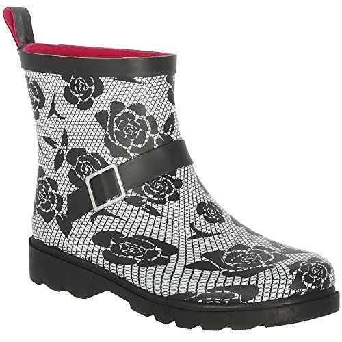 Capelli New York Ladies Lace and Roses Printed Short Rain Boot Black Combo 8