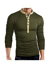 Men's Cotton Slim Fit Solid Henley T-Shirt Polo Long-Sleeve Button Placket Notch Neck