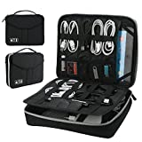 Electronics Organizer, Vivefox Double Layer Travel Bag Accessories Cable Organizer for Cords, USB Cable, SD Cards, Hard Drive, Power Bank, E-Book Kindle, iPad and More