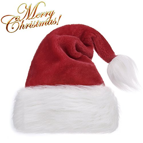 Santa Hat Adult Costumes (OPOLEMIN Santa Hat For Adults Plush Red Velvet & Comfort Liner Christmas Halloween Costume (Red))