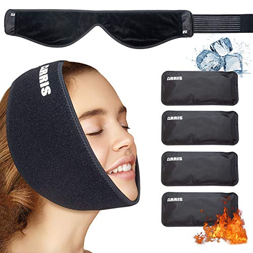 Ice Pack for Jaw,Chin,Head Face,Wisdom Teeth, Hot Cold Therapy Wrap w/Reusable Gel Pack for Pain Relief of Mouth,Dental Implant, Sports Injury, Oral Facial Surgery, TMJ, Headaches Pain
