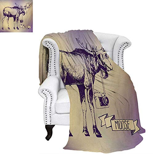 warmfamily Moose Oversized Travel Throw Cover Blanket Hipster Deer with Shade Sunglasses and Camera Vintage Ombre Design Funny Animal Art Super Soft Lightweight Blanket 60