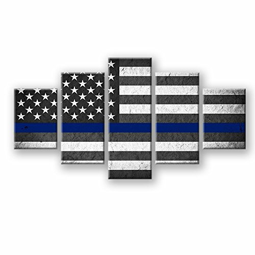 VIIVEI US USA American Flag Canvas Print Wall Art Thin Blue Line Home Decor Decals Pictures Poster for Living Room Bedroom Dining Room Office 5 Panel Paintings Framed Ready to - Decal Art Line