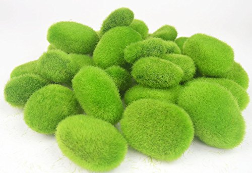 Lanyani Set of 30 Artificial Moss Rocks Green Moss Balls Fuzzy Moss Cover Stones, Varying Sizes for Floral Design, Center Pieces, Vases Fillers and more by Lanyani