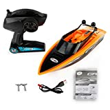 Remote Control Boat 2.4G 4CH Electric RC High Speed Racing Ship for Lake Boy Kids Toddlers Orange