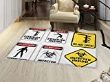 smallbeefly Zombie Door Mats Area Rug Warning Signs for Evil Creatures Paranormal Construction Design Do Not Open Artwork Floor mat Bath Mat for tub Multicolor