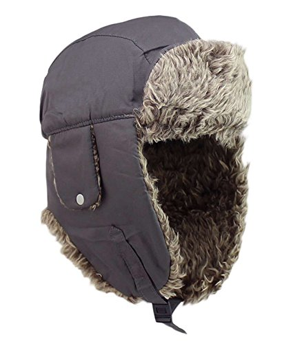 Trapper Hat Winter Ear Flap Hat Adjustable Waterproof Windproof Skiing Cap For Men Women Grey Dog Ear Cap