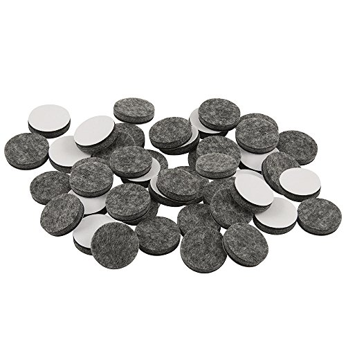 "SoftTouch 4749095N Self Stick Felt Furniture Pads for Hardwood Floors 1"" Gray, Round (48 Pieces), 1 Inch"