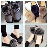 SIQUK 24 Pieces Faux Fur Pom Pom Balls DIY Faux Fox Fur Fluffy Pom Pom with Elastic Loop for Hats Keychains Scarves Gloves Bags Accessories