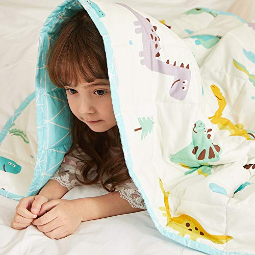 Hiseeme Cooling Weighted Blanket for Kids 7lbs, 41''x60'' | Single Size Bed | Small Pockets | Breathable Cotton with Glass Beads | Dinosaur