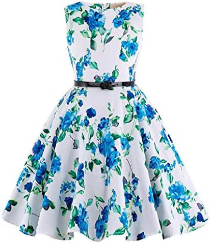 Kate Kasin Girls Sleeveless Vintage Floral Swing Party Dresses