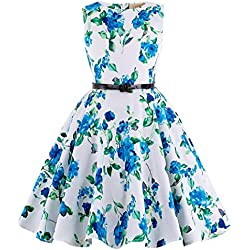 Cute Girl's Wiggle 50's Retro Floral Sleeveless Classy Homecoming Dress 6~7Yrs K250-3