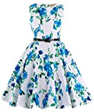 Blue Floral Vintage Wiggle Girl's Sleeveless Casual Party Dresses 11~12Yrs K250-3