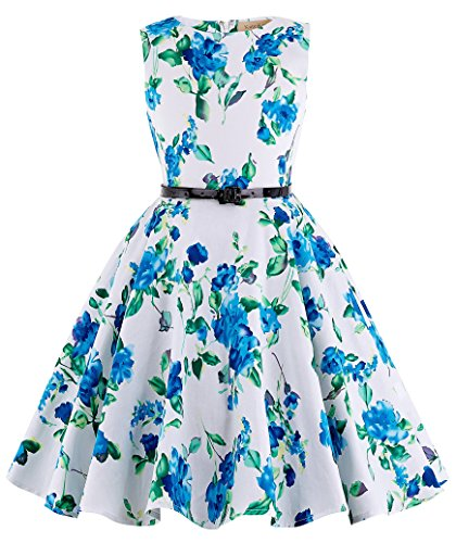 Kate Kasin White&Blue Floral Vintage Cotton Girl's Swing Dresses for Prom Party 8~9Yrs K250-3
