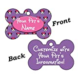 uDesignUSA Disney Minnie Mouse Purple Double Sided Pet Id Tag for Dogs & Cats Personalized with 4 Lines of Text