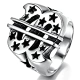 Stainless Steel Ring for Men, Dollar Ring Gothic Black Band Silver Band 20*22MM Epinki