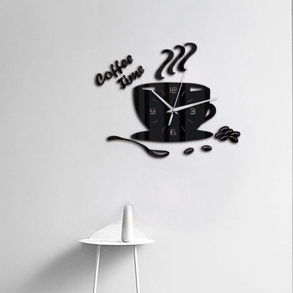 Ganquer Moderno Adesivo Acrilico Alimentazione a Batteria Orologio da Parete Cucina Casa 3D Tazza caff/è Forma Orologio da Parete Free Size Nero