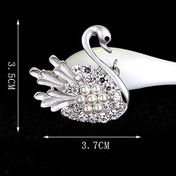 Argent Broche Motif Animal Broche Bijoux Cygne Epingle Broche D/écor/é V/êtement 3.5 3.7 cm Alliage Size 3.5 Qinlee Broche Femme Homme 3.7cm