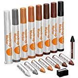 NADAMOO Furniture Markers Touch Up, Set of 17, 8 Markers and 8 Wax Sticks and 1 Sharpener, Wood Scratch Repair Pen for Hardwood Floor Wood Stain, White, Black, Gray, Cherry, Maple, Oak