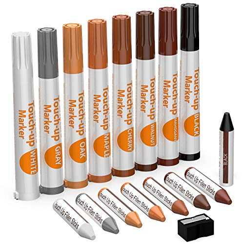 (NADAMOO Furniture Touch Up Marker 17 Pcs Repair Kit Cover Wood Scratch - 8 Felt Tip Markers & 8 Filler Crayon Sticker & 1 Sharpener, 8 Color - White, Black, Gray, Mahogany, Walnut, Cherry, Maple, Oak)