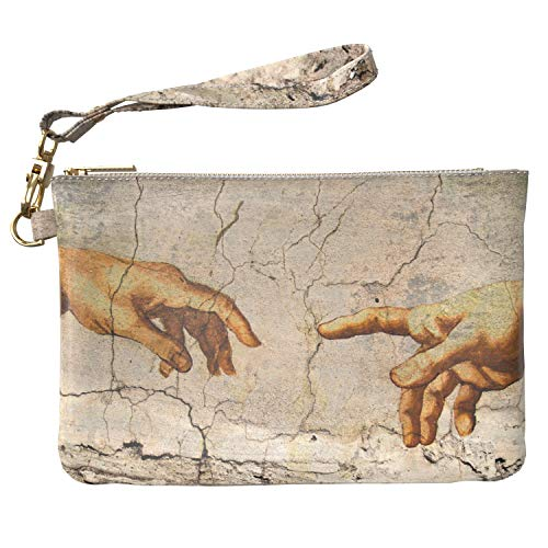 - Lex Altern Makeup Bag 9.5 x 6 inch Michelangelo Painting Aesthetic Creation of Adam Cosmetic Travel Leather Case Toiletry Women Zipper Organizer Bathroom Wristband Girls Accessories Print Purse Pouch