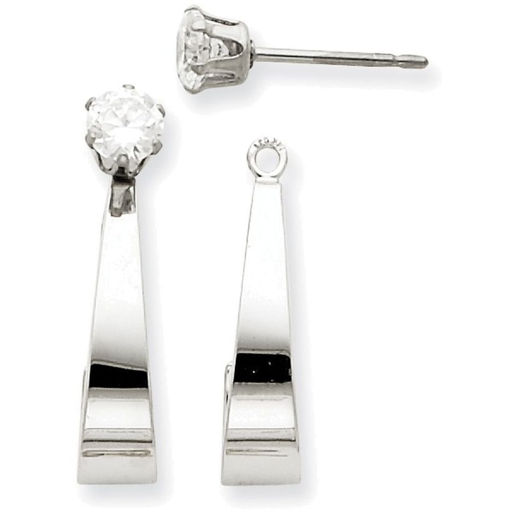 14k White Gold J Hoop W/cz Earring Jackets by Finejewelers (Image #1)